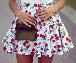 dress, flower skirt, and fashion image