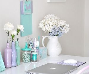 flowers, room, and blue image