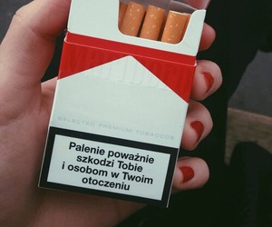 cigarette, red nails, and smoke image