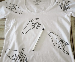hands, shirt, and white image