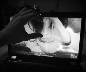 black and white, couples, and skype image