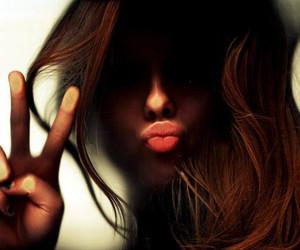 girl, peace, and kiss image