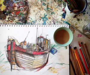 art, boat, and draw image