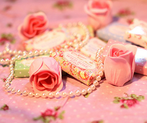 rose, pink, and pearls image