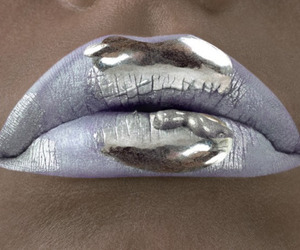 lips, silver, and makeup image
