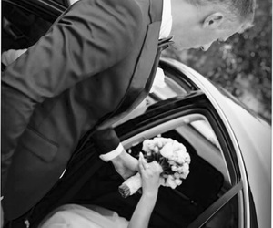 bride, car, and love image