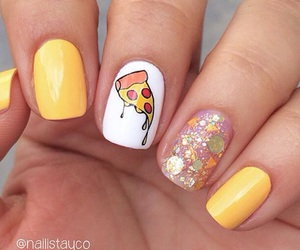 nails, pizza, and cute image