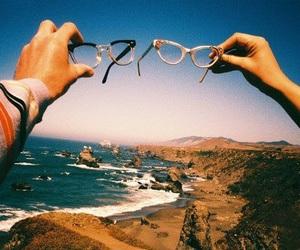 glasses, sea, and beach image