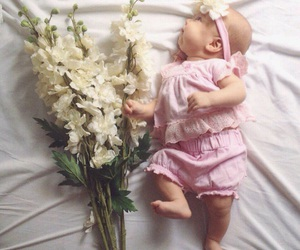 baby, baby girl, and flowers image