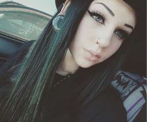 alternative, black hair, and bodymods image