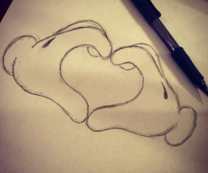 drawings, heart, and mickey mouse image
