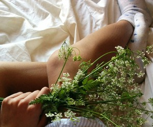 girl, plant, and white image
