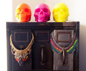skull, necklace, and jewelry image