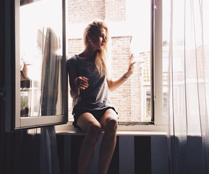 blond, sitting, and t-shirt image