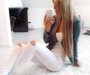 blonde, fashion, and jeans image