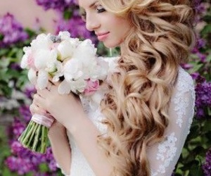 hairstyle, wedding, and flowers image