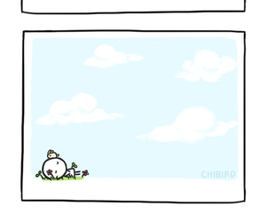 chibird, flowers, and sky image
