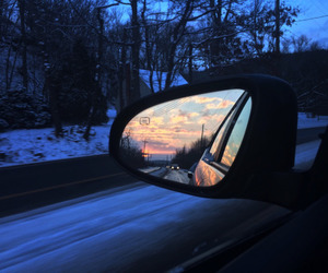 car, sky, and winter image