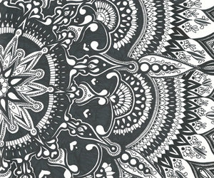 black and white, drawing, and zentangle image