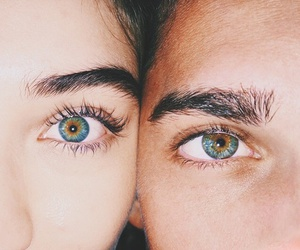 eyes, couple, and blue image