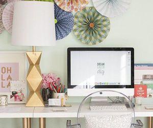 bedroom, computer, and desk image