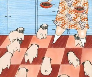 pug, dog, and illustration image