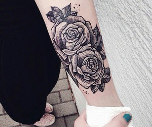 flower, girl, and roses image