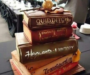 harry potter, cake, and book image