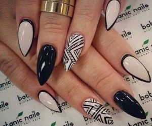 black and white, manicure, and stiletto nails image