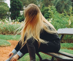 girl, green, and wind image