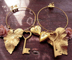 key, gold, and earrings image