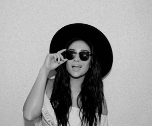 shay mitchell, black and white, and emily image
