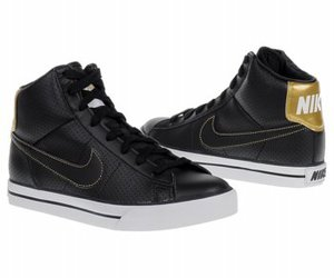black and gold, nike, and sneakers image