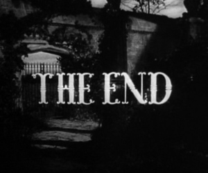 the end, black and white, and end image