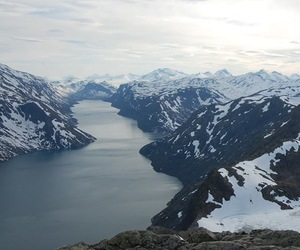 mountains, norway, and snow image