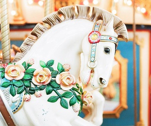 horse, carousel, and flowers image