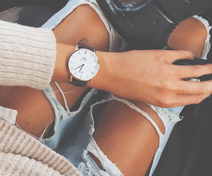 outfit, ripped jeans, and watch image