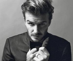 David Beckham, black and white, and man image