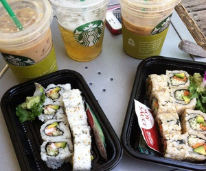 sushi, food, and starbucks image