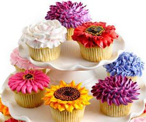 cupcakes, flowers, and food image