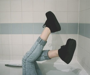 bathroom, boots, and bathtub image