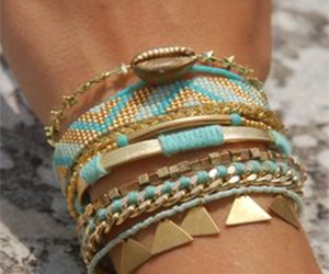 bracelet, blue, and gold image