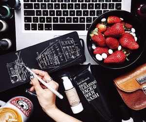 drawing, food, and strawberry image