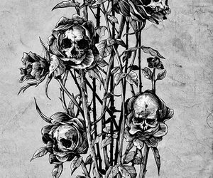 skull, flowers, and roses image