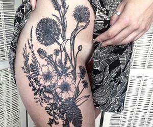 black, design, and floral image