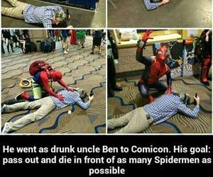 funny, spiderman, and uncle ben image