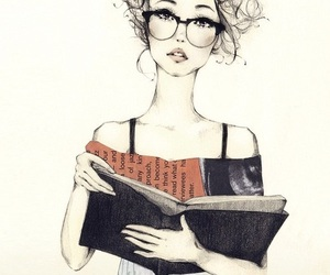 girl, glasses, and reading image