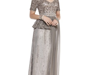 evening gown, sequin, and short sleeve image