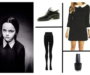 halloween costume, peter pan collar, and wednesday addams dress image