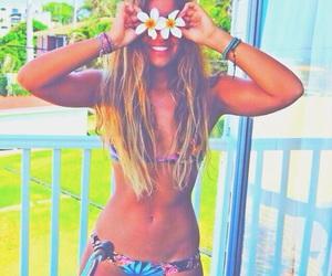bikini, blonde, and girl image
